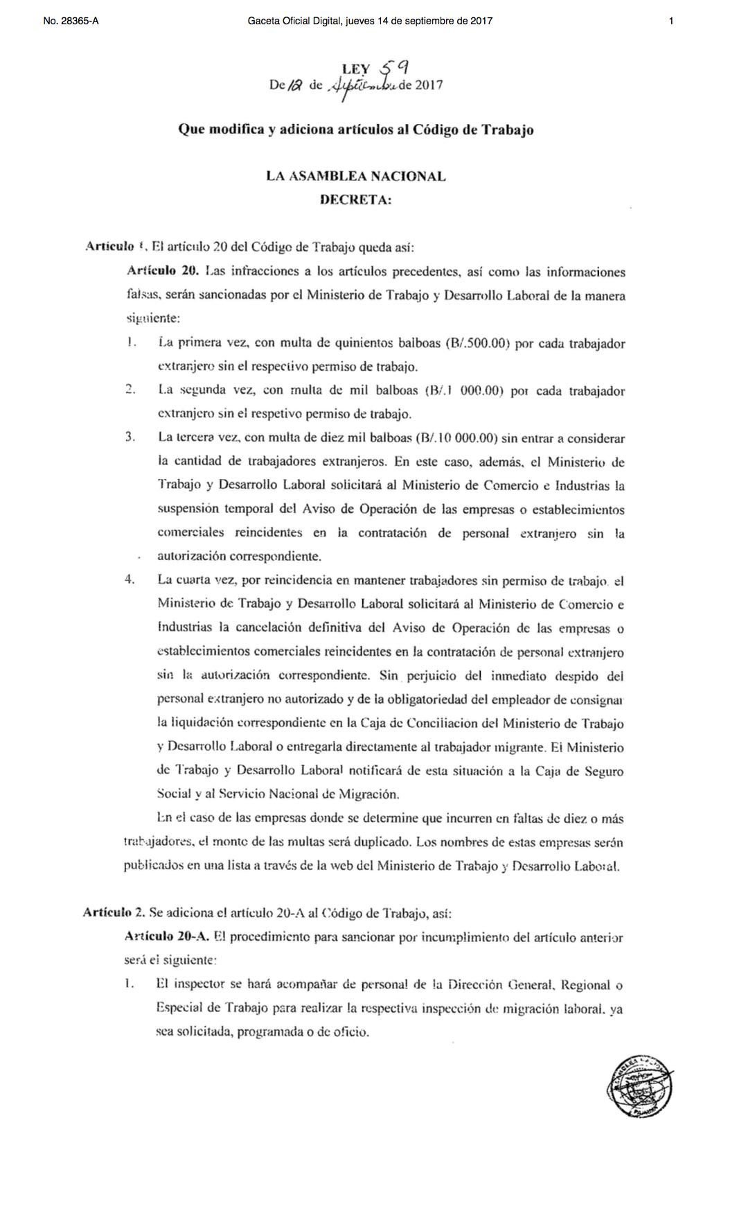 Gaceta oficial - Multas por extranjeros sin permiso de trabajo